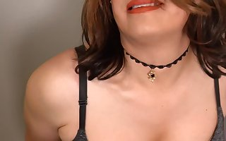 Crossdresser Striptease and Dildo Cum